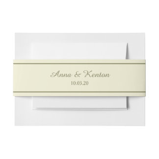 Pale Gold Antique Gold Line Personalized Wedding Invitation Belly Band