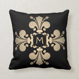 Pale gold monogrammed fleur de lis cross cushion