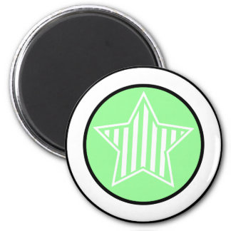 Pale Green and White Star Round Magnet