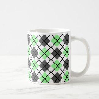 Pale Green, Black, Grey on White Argyle Print Mug