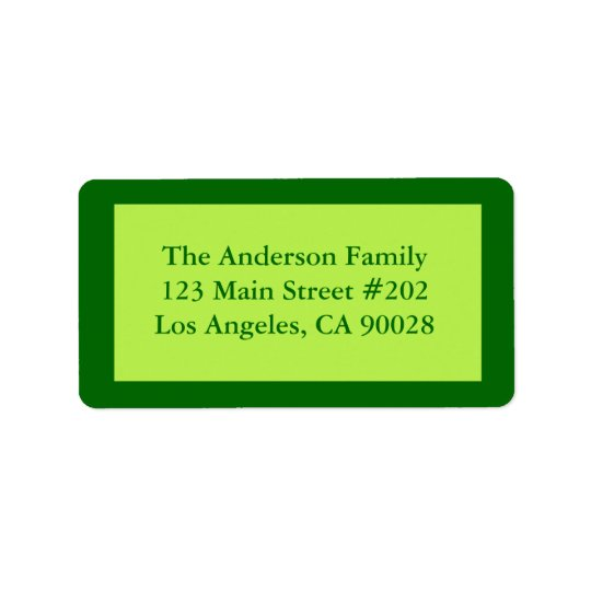 Pale green border address label