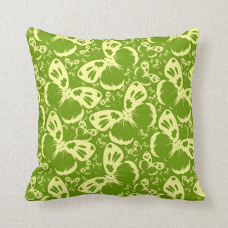 Pale Green Butterflies Throw Pillow