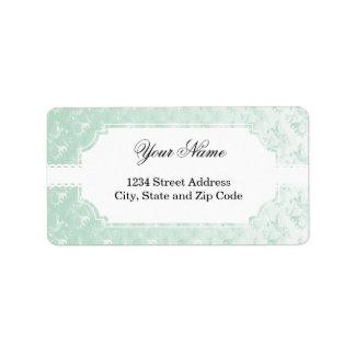 Pale Green Damask Design Address Label