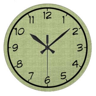 Pale Green Faux Canvas Clock