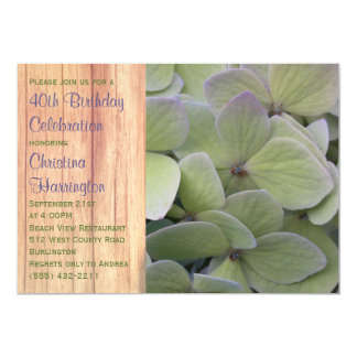 Pale Green Hydrangea Birthday Party Invitations