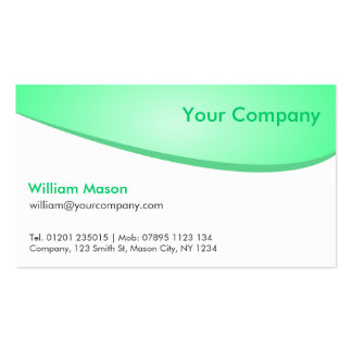 Pale Green White Curved Professional Business Card