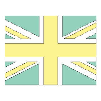 Pale Green Yellow Union Jack British(UK) Flag Postcards