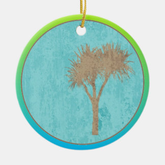 Pale Lime And Blue Two Tone Round Ceramic Decoration