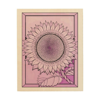 Pale Magenta Sunflower Wood Wall Decor