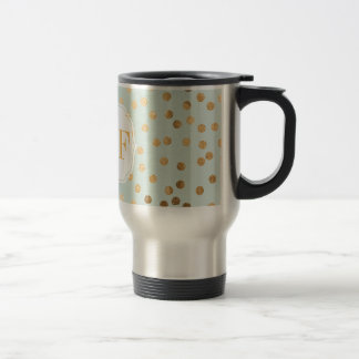 Pale Mint Blue and Gold Glitter City Dots Stainless Steel Travel Mug