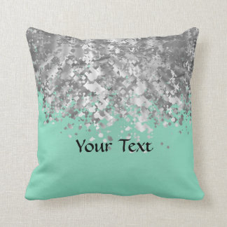 Pale mint green and faux glitter personalized cushion