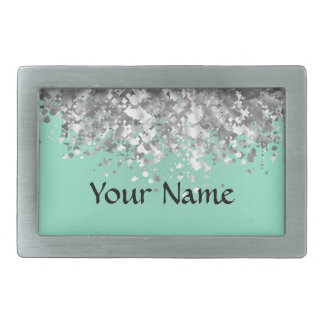 Pale mint green and faux glitter personalized rectangular belt buckle
