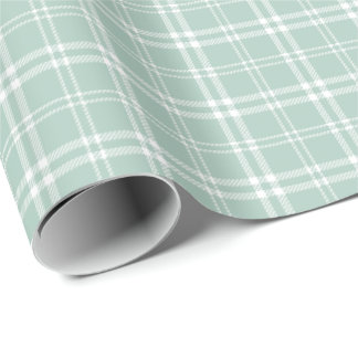 Pale Mint Green and White Plaid Wrapping Paper