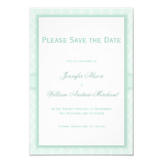 Pale Mint Green Quatrefoil Pattern Save the Date 9 Cm X 13 Cm Invitation Card