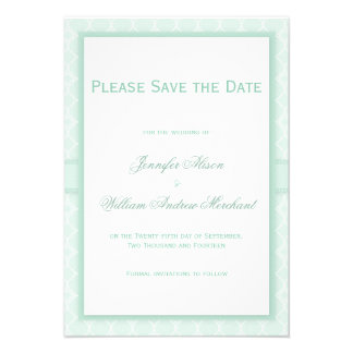Pale Mint Green Quatrefoil Pattern Save the Date Personalized Invite