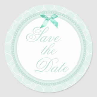 Pale Mint Green Wedding Save the Date Stickers