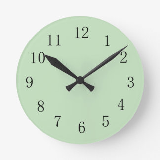 Pale Mint Ice Cream Green Round Medium Wall Clock