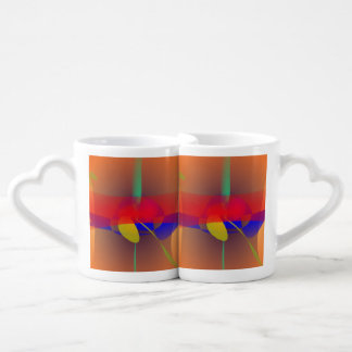 Pale Orange and Blue Contrast Lovers Mugs