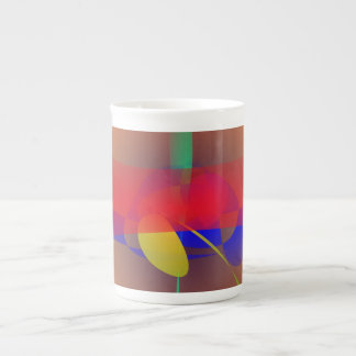 Pale Orange and Blue Contrast Porcelain Mug