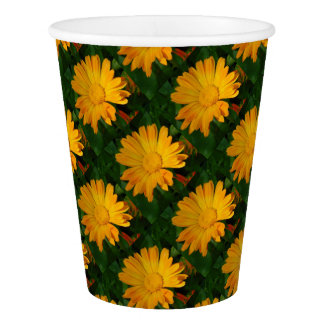 Pale Orange Marigold Flower With Garden Background Paper Cup