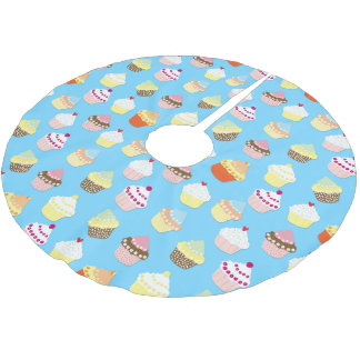 Pale Pastel Blue Cup Cakes Brushed Polyester Tree Skirt