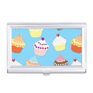 Pale Pastel Blue Cup Cakes Business Card Holder