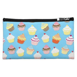 Pale Pastel Blue Cup Cakes Cosmetic Bag