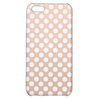 Pale Peach and White Polka Dots iPhone 5C Case