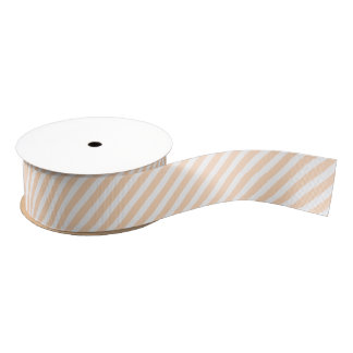 Pale Peach Angelskin Coral & White Diagonal Stripe Grosgrain Ribbon