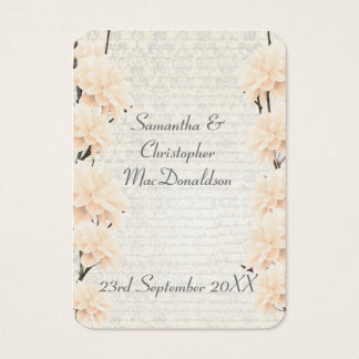 Pale peach floral wedding favor thank you tag business card