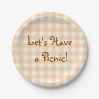 Pale Peach Gingham Picnic Paper Plate