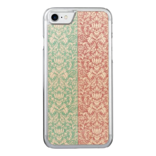 Pale Pink and Blue Damask Floral Kawaii Carved iPhone 7 Case