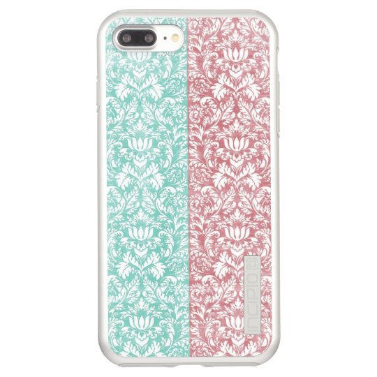 Pale Pink and Blue Damask Floral Kawaii Incipio DualPro Shine iPhone 7 Plus Case