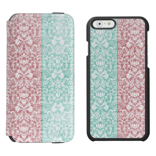 Pale Pink and Blue Damask Floral Kawaii Incipio Watson™ iPhone 6 Wallet Case