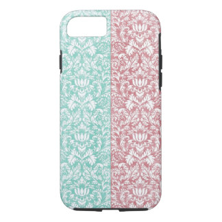 Pale Pink and Blue Damask Floral Kawaii iPhone 8/7 Case