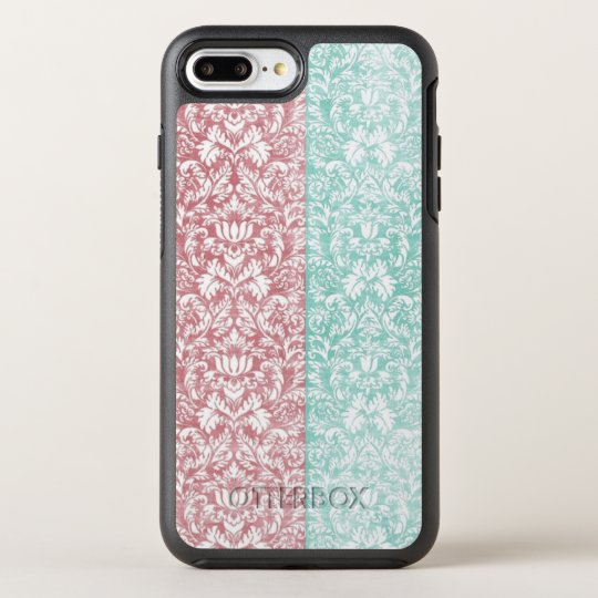 Pale Pink and Blue Damask Ribbon Candy Kawaii OtterBox Symmetry iPhone 7 Plus Case