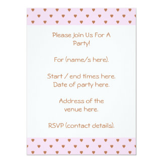 Pale pink and brown heart pattern. invitation