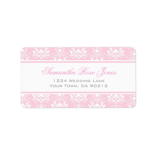 Pale Pink and White Damask Elegant Address Label