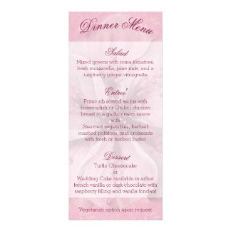 Pale Pink and White Floral Menu Custom Rack Cards