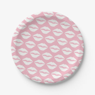 Pale Pink and White Lipstick Paper Plate