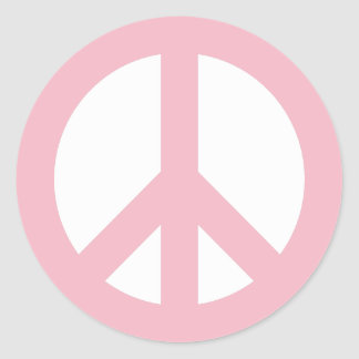 Pale Pink and White Peace Symbol Round Sticker