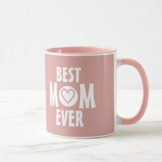 Pale Pink Best Mom Ever Mug with Heart