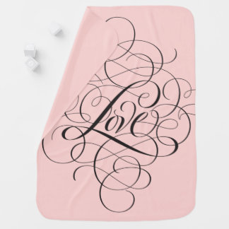 Pale Pink Black Flourished LOVE modern Calligraphy Baby Blanket