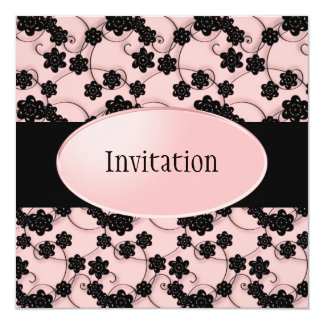 Pale Pink & Black Flowers Pattern All Events 5.25x5.25 Square Paper Invitation Card