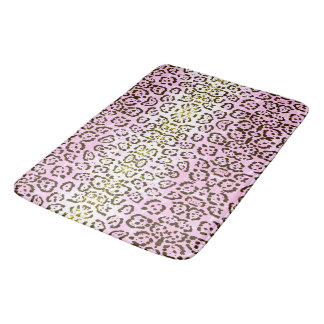 Pale Pink Cheetah Pop Art Cat Animal Print Bath Mat