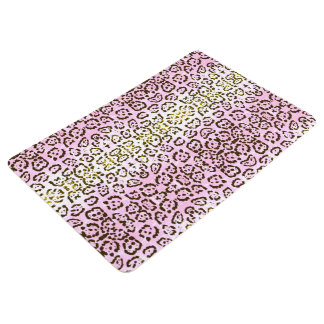 Pale Pink Cheetah Pop Art Cat Animal Print Floor Mat