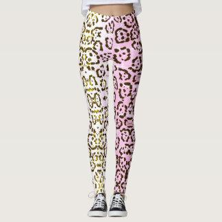 Pale Pink Cheetah Pop Art Cat Animal Print Leggings