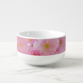Pale Pink Cherry Blossoms Soup Bowl With Handle
