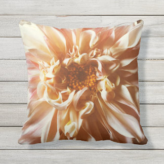 Pale pink dahlia outdoor cushion