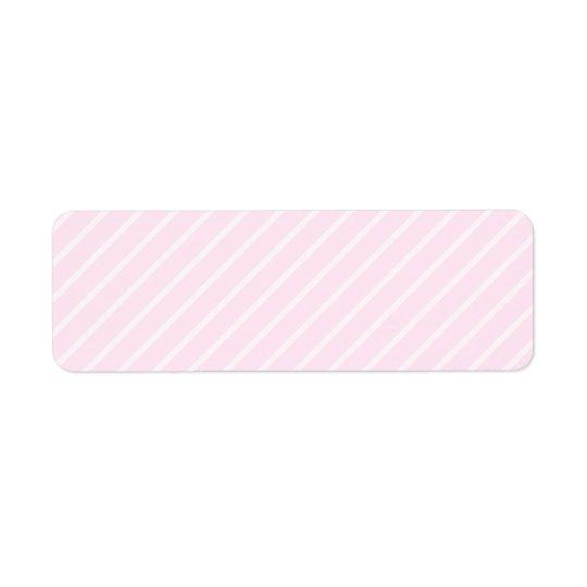 Pale pink Diagonal Stripes. Return Address Label